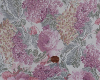 Floral Print Semi Sheer Fabric 3 1/2 yards Pastel Pink Yellow Flowers Flower Clusters Shabby Cottage Garden