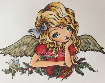 Holly Angel - Digital Stamp Instant Download / Christmas Art by Ching-Chou Kuik