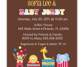 Circus Carnival Baby Shower Birth announcement Or Birthday Party Invitation (Digital File)