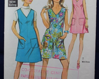 1960's Dress & Pantdress Sewing Pattern in Size 18 - Simplicity 8195
