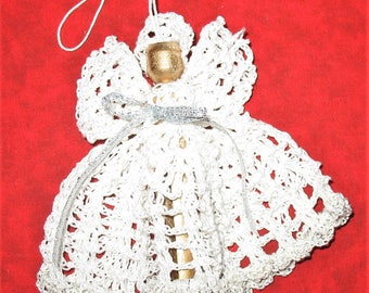 Crocheted ANGEL Christmas Tree Ornament SILVER and White