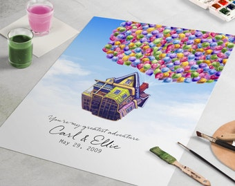 Up House Guest Book - Custom Disney Pixar wedding guestbook and wedding art piece,  Beautiful wedding gift and guest book alternative