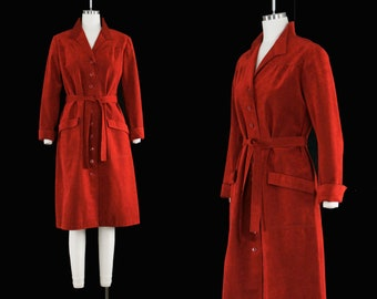Vintage 1970's Ultrasuede Dress - Ruby Red Shirt Dress - Collar - Button Front - Long Sleeve - Halston Inspired - Medium Large - Holiday