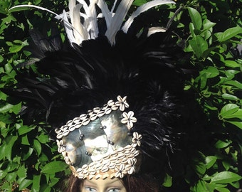 Tahitian & Rarotongan Costume Headpiece.. Mother Of Pearls, Cowrie Shell And Black Pearls Headpiece, Perfect For All Ages, Group Dancers.