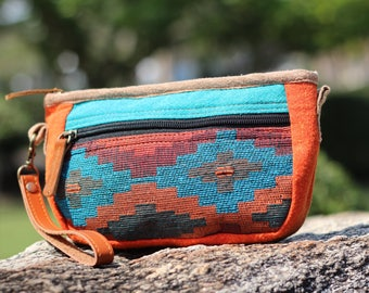 Colorful Native American Wristlet Wallet   Double Zippered Vegan Pouch   iPhone wallet   Navajo Clutch bag   Small Ethno Crossbody Bag