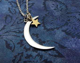 travel gift, crescent moon necklace, moon and star necklace, silver moon pendant, wanderlust, outdoor gift,  celestial gift