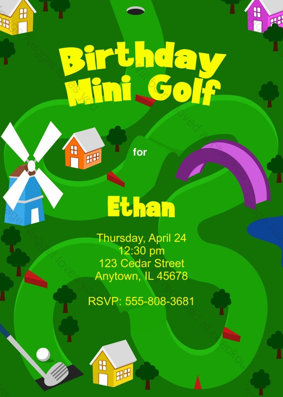 Schön Mini Golf Birthday Invitation Printable Design