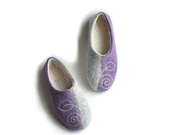 Summer Sale Handmade felted slippers grey-lilac