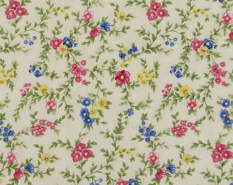 "Quilt Cotton Apparel Sewing Fabric VICTORIAN SPLENDOR Northcott White Pink Yellow Blue Green Colors 51"" x 44"""