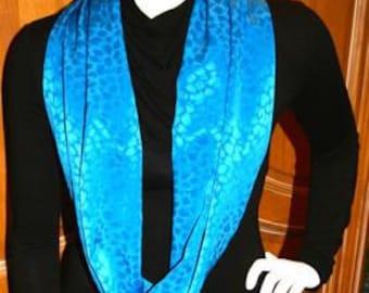 Scarf Infinity Turquoise Blue Satin Sleek Glossy Monotone Color Scheme Animal Print