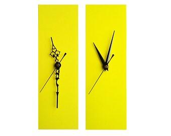 CLC Contemporary Slim Long Wall Clock YELLOW 30cm