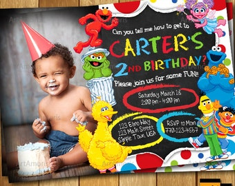 Elmo Invitation, Elmo Birthday Invitation, Sesame Street Invitation , 1st 2nd 3rd Birthday Party Invitation R-168