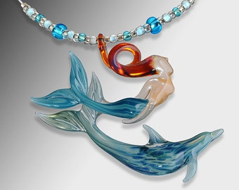 Blown Glass Jewelry-Dolphin with Mermaid Necklace