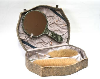 Lovely Vintage Set of Two Hair Brushes and Mirror in Original Box