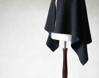 Wool poncho, wool cape, womens poncho, open poncho, black poncho, wool jacket, womens coats, womens jacket, wool sweater, black jacket