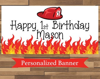 Personalized Fire Truck Birthday Party Banner | Fireman Party | 1st Birthday | Custom Banner | Personalized Banner