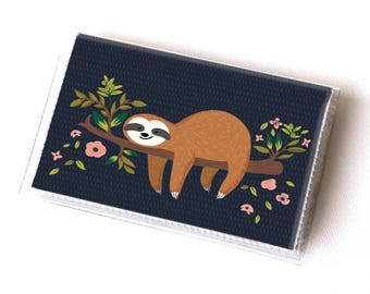 Handmade Vinyl Card Holder - Sloth  / card case, vinyl wallet, women's wallet, small wallet, pretty, gift, cute, lazy, floral, blue, green
