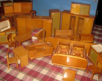 Mid Century German Fleck Dollhouse Furniture, Bedroom and Kitchen Pieces