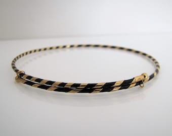 18K Gold Elephant Hair Slave Bangle Armlet. French Art Deco Arm Band Bracelet. Adjustable Upper Arm Torque Style 18K Gold Bangle Armlet