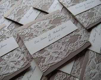 Rustic Wedding Invitation, Lace Wedding Invitation, Kraft Wedding Invitations