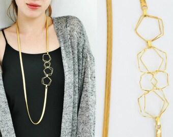 Long necklace, Gold necklace, Necklaces for women, Geometric necklace, Asymmetrical necklace, Statement necklace, Side necklace