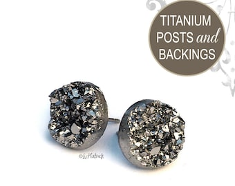Glitter Stud Titanium Earrings, 12mm, Gunmetal Gray Metallic Faux Druzy with Titanium Posts