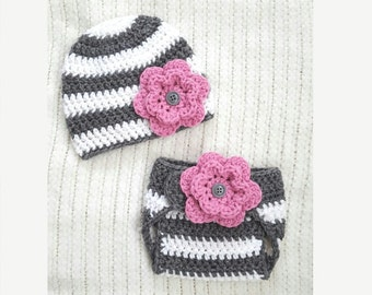 Crochet baby hat and diaper cover set, baby girl gift, newborn photo prop, 0-3 month baby gift, baby girl hat, gray white stripe pink flower