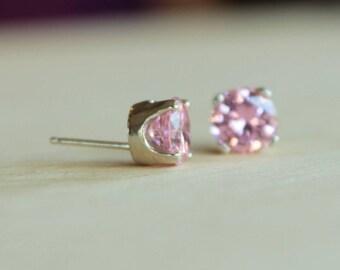 7mm Pink Cubic Zirconia Argentium Silver Earrings - Nickel Free Hypoallergenic Stud Earrings