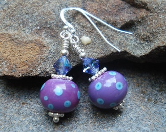 Art Glass Earrings - Pink Lavender with Turquoise Dots - Lampwork Earrings - Sterling Silver and Swarovski - Fun - Polka Dot - Artisan