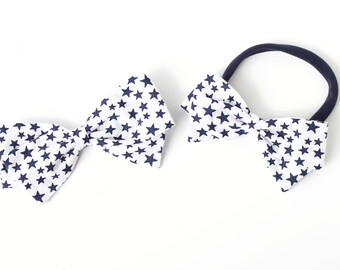 Fourth of July Hair Bow - Blue Star Bow For Baby and Girls  - Fabric Bow - Nylon Headbands and Clips for girls