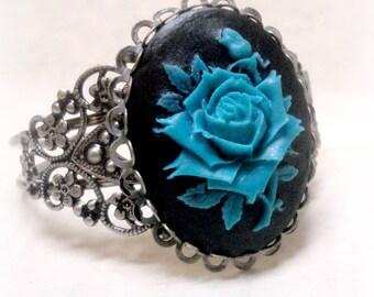 Silver Cuff Bracelet - Blue Rose Cuff Bracelet - Wiccan Jewelry - Victorian Jewelry - Gothic Jewelry - Art Nouveau Jewelry - Steampunk