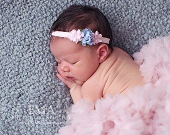 Pink and Blue Headband, pink Flower Girl Headband, blue headband, pink newborn photo prop, pink newborn headband, pink flower headband