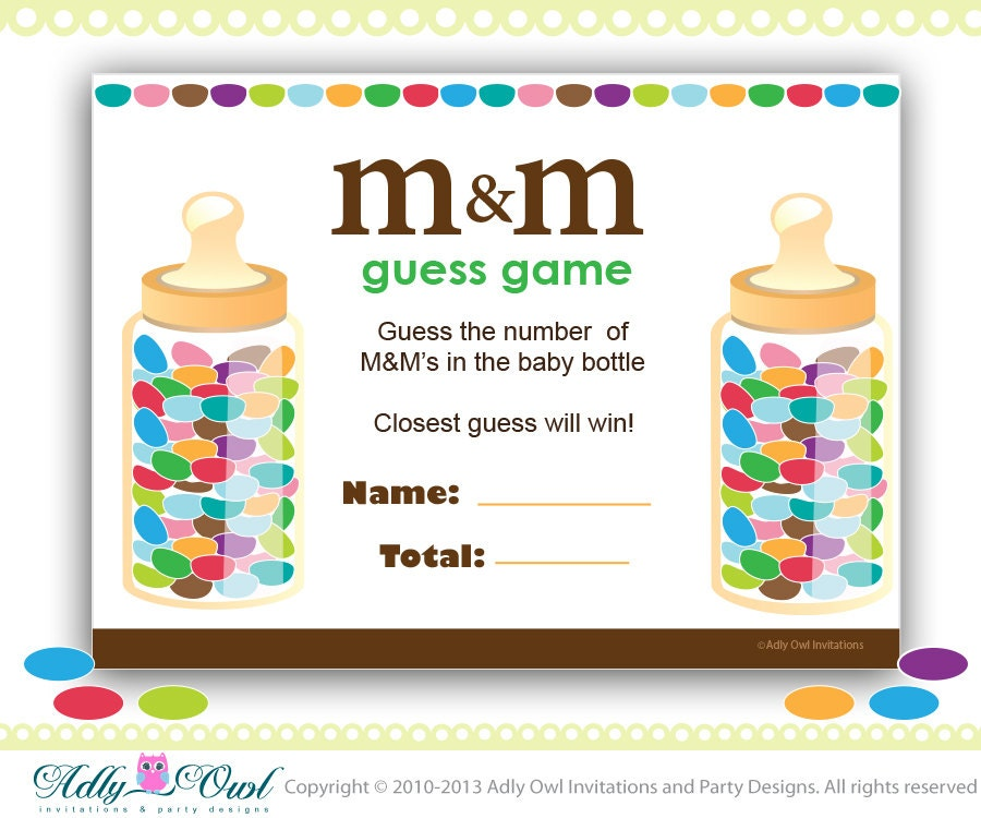 Baby Showers Games For Guys ~ M s baby shower game printable fun games