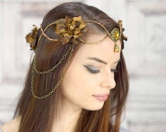 Couronne elfique, marron et orange, coiffe elfique, couronne de fée, Costume de coiffe, coiffe, fleur couronne, Couronne florale, Woodland
