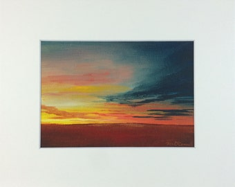 Sunset Over Field - Print