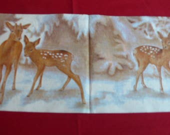 """Christmas theme napkin """"DOE and her fawns"""""""