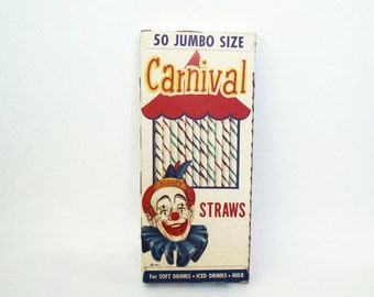 NOS Carnival 50 Jumbo Straws 1950s National Soda Straw Co. Chicago Ill.