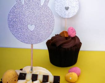 Bunny Head Cupcake Toppers 8pk