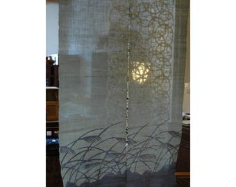 "traditional linen noren, door way curtain. Susuki Silver Grass on Purple Gray (WE11-29) 35""W x 59""L"