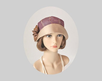 1920s-inspired cloche hat in mauve and beige, Great Gatsby hat, flapper hat, 20s cloche hat, purple cloche hat, summer cloche hat