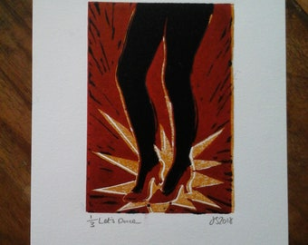 Let's Dance. Original Lino Cut Print.