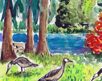 Garden Painting, Original Watercolor, Geese Painting, Rhododendron, Wall Art, Canadian Goose, Watercolor Art,  8 X 10 Art, Portland Oregon