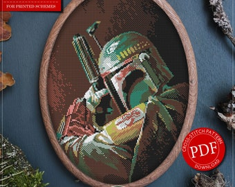 Star Wars Cross Stitch Pattern for Instant Download *P433 | Boba Fett Cross Stitch Pattern| Easy Cross Stitch| Counted Cross Stitch