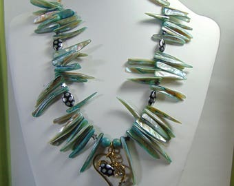 Brass, Glass and Abalone Spikes Necklace