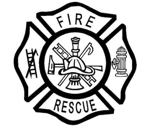 fire emt rescue firefighter maltese cross vinyl decal custom