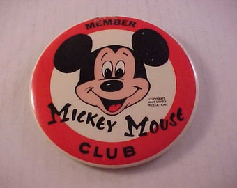 Mickey Mouse Club Member Large Pin Back Button