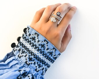 Evil Eye Ring, Silver Evil Eye Ring, Evil Eye Jewelry, Tiny Multi-Stone Ring, Silver Ring, Interesting Jewelry, Evil Eye Gifts, Hamsa Ring