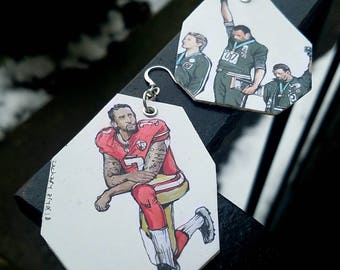 Sports and civil rights hand-painted earrings - Colin Kaepernick, John Carlos and Tommie Smith