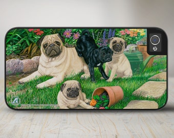 "Pug Phone Case, Pug iPhone   Case, Pug Dog iPhone Case, Dog iPhone Protective Case ""The Gardeners""  50-5344"