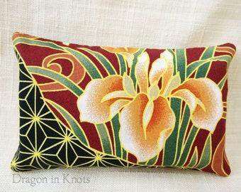 Iris Travel Tissue Holder - Asian floral pocket tissue pouch, fabric tissue case
